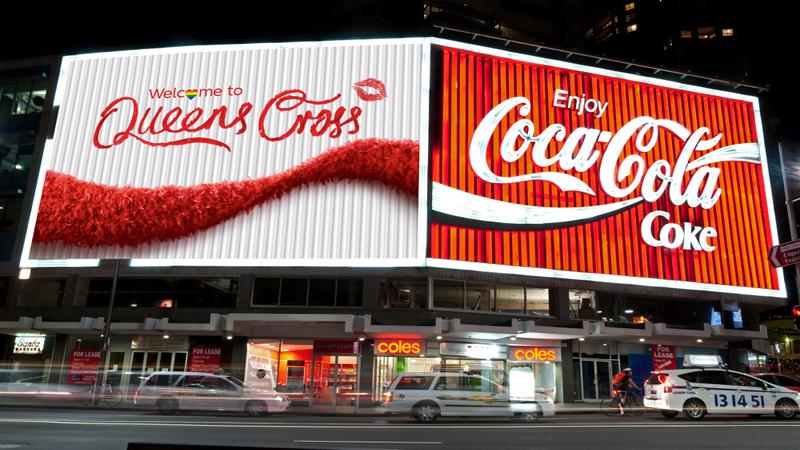 Màn hình LED Coca Cola tại Mỹ được đặt ở vị trí góc rộng, dễ dàng quan sát