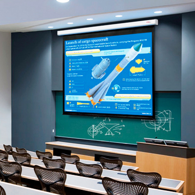 Màn chiếu treo tường kéo tay rất thông dụng tại các trường học