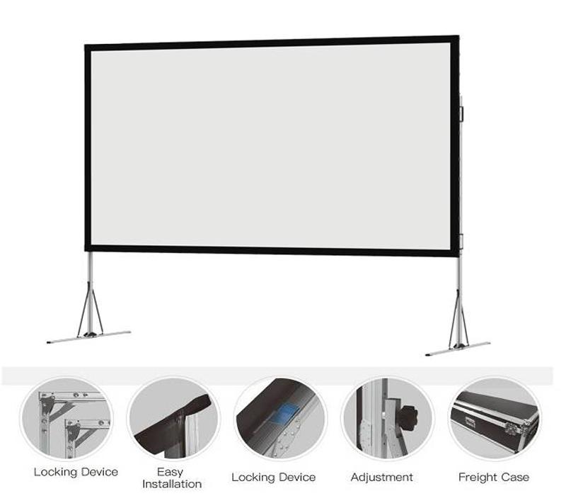 Màn chiếu khung gấp có hai loại là màn chiếu trước và màn chiếu sau