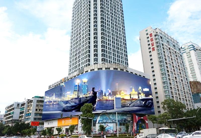 Màn hình LED quảng cáo tại Sán Đầu uốn cong theo kiến trúc tòa nhà